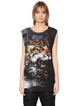 Wes-C Sleeveless Panther Printed T-Shirt - Shop for women's T-shirt - BLACK T-shirt