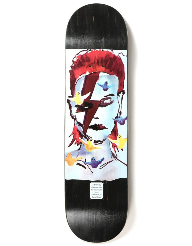 One of the most iconic skateboards of all time, the Jason Lee 'Bowie' Deck  had the Mark Gonzales make over for the Prime Heritage x Gonz Lee Bowie  Tribute ...