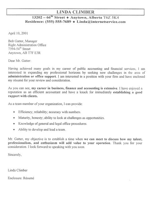 Accountant Cover Letter Example is a Sample for financial professional using resume for position in accounting, finance, administration and office support