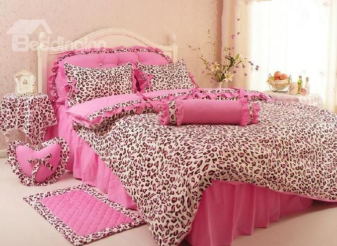 New Arrival Comfortable Leopard Print Pink Princess Style 4 Piece Bed Skirt Bedding Sets on sale, Buy Retail Price Girls Bedding Sets at Beddinginn.com