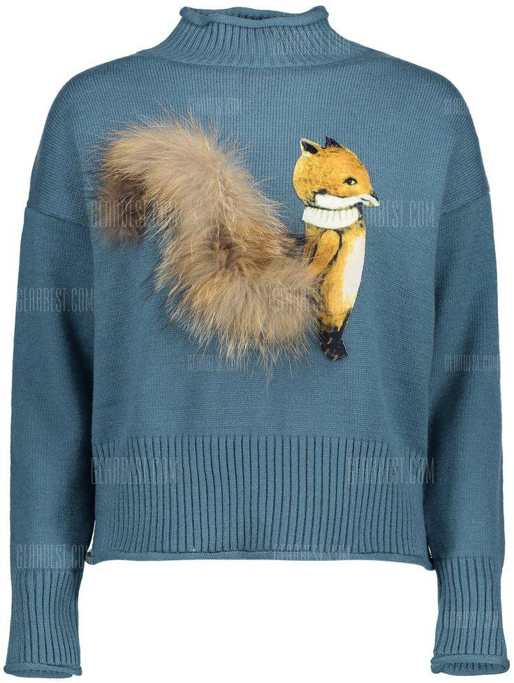 Озеро синий панель высокая шея искусственного меха свитер-29.50 интернет-магазины| GearBest.com