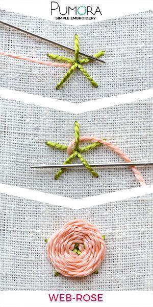 Blumen sticken: Web-Blumen