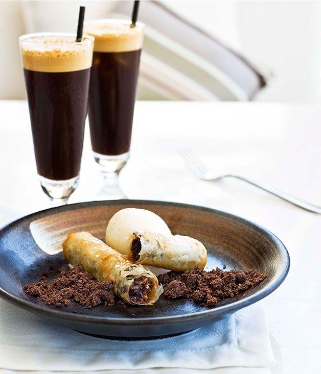 Australian Gourmet Traveller Greek dessert recipe for chocolate baklava by chef George Calombaris of Melbourne restaurant The Press Club.
