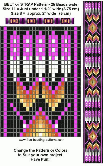 Free Beading Pattern Regalia Belt Purple Loom Beading