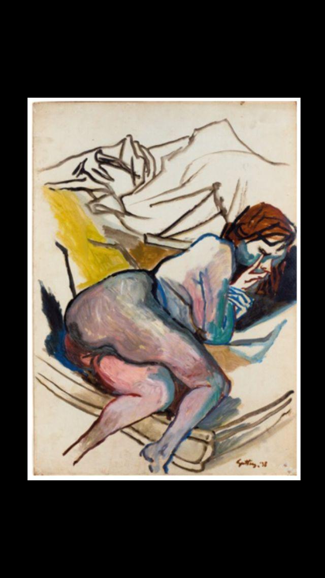 "Renato Guttuso - "" Nudo dormiente "", 1938 - Oil on cardboard - 70 x 50 cm"