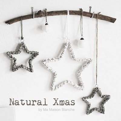 Natural Christmas! DIY style! Love this with the wicker stars for Christmas!