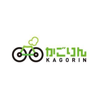 かごりんのロゴ:自転車 + 桜島 | ロゴストック