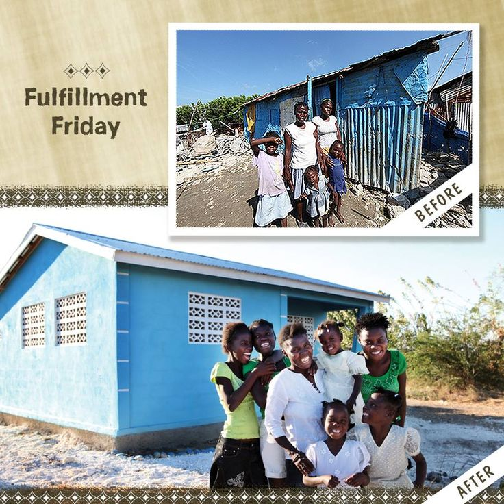 Before: A family in Cite Soleil, one of the poorest communities in Haiti.  After: The same family smiles in front of their new house, provided by generous Food For The Poor donors.