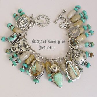 Turquoise Soul  . . .    Schaef Designs boulder turquoise, fossil coral,turquoise & Sterling Silver Native American Charm Bracelet Necklace | Schaef Designs Southwestern & turquoise Jewelry | New Mexico