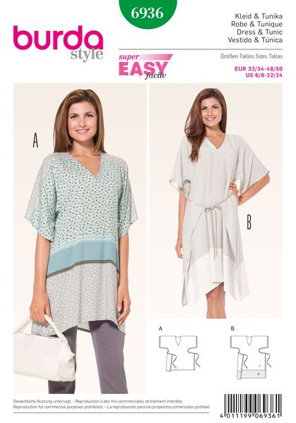 Hip wrapped tunics matching slender pants or with lengthened hem band from contrast fabric, worn on its own as a dress, with skirt panels to be turned to the front or the back and held together with a tie band.