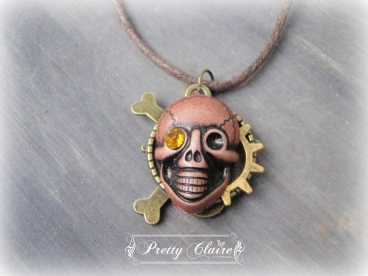 Steampunk skull necklace, steampunk handmade pendant, pirate pendant, unique gift, unique jewelry, special necklace by PrettyClaire on Etsy