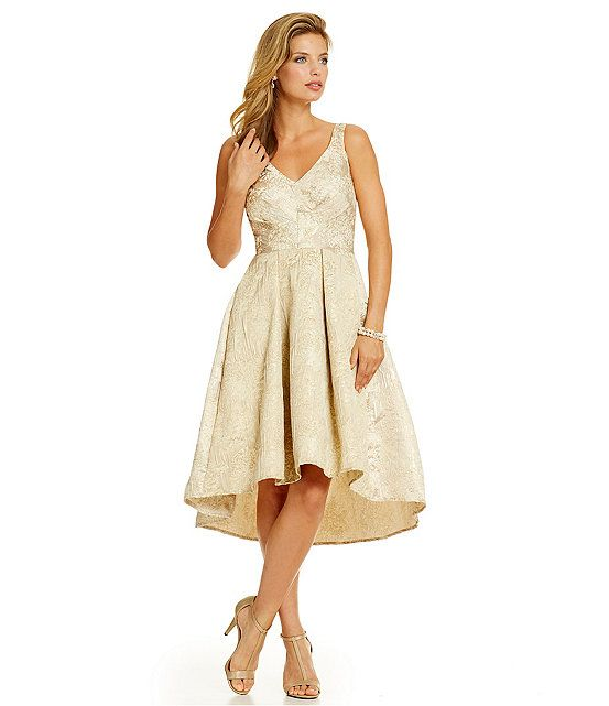Eva Franco Zander Metallic Brocade Hi-Low Party Dress...This style generally makes me look like I'm 6 and outgrew my favorite dress...still super cute though! $218 @ Dillard's