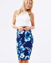 Image result for blue floral pencil skirt