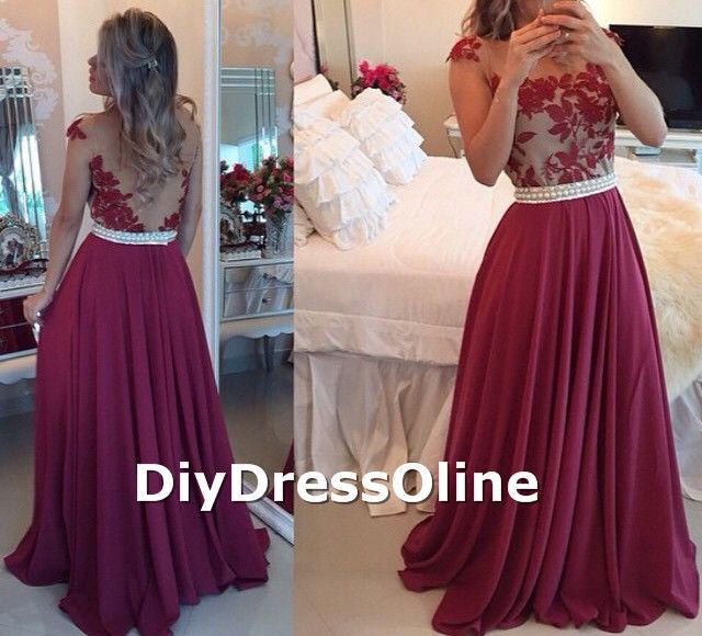 A-line Embroidery Bodice Burgundy Chiffon Skirt Long Prom Dresses 2015 Formal Dresses APD1457