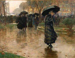 Rain Storm, Union Square, 1890  Childe Hassam