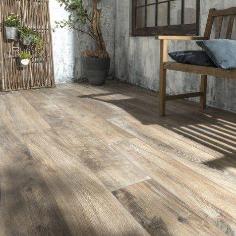 Carrelage brun foncé effet bois Heritage l.20 x L.120 cm