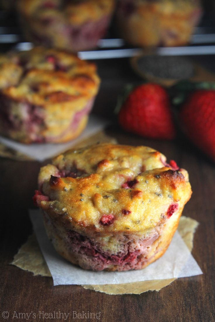 Strawberry Lemon Chia Seed Protein Muffins -- a quick, easy & healthy breakfast treat! They're packed with 8g+ protein & practically taste like cupcakes!