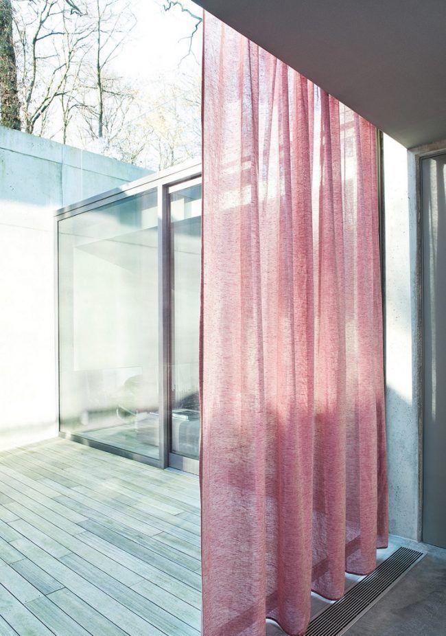 Moderne Gardinen Vorhaenge Leinenstoffduenn Durschscheinend Rot Pastellfarbe Terrasse