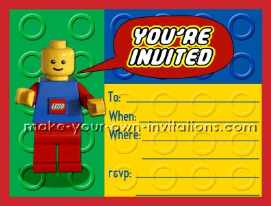 ALL LINKS TO DESIGN YOUR OWN LEGO INVITATION...PLUS FREE PRINTABLE!