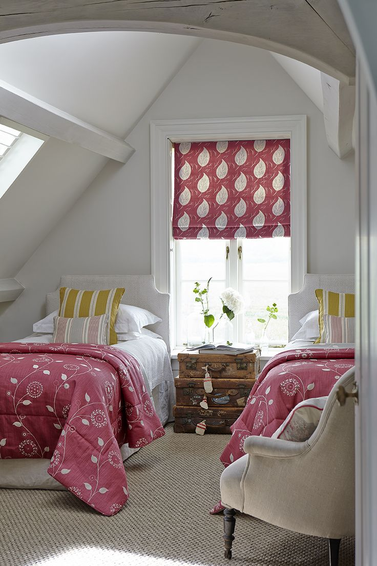 Roman Blinds in Leaf Dance colourway Damson and Charcoal