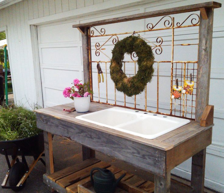 potting bench with sink | Rustic Potting Benches with Sinks White Iron Wrought with Sink ...