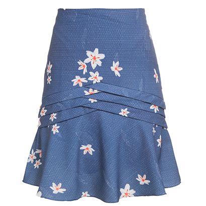MARIA FILÓ - Saia sino Maria Filó floral - azul - OQVestir
