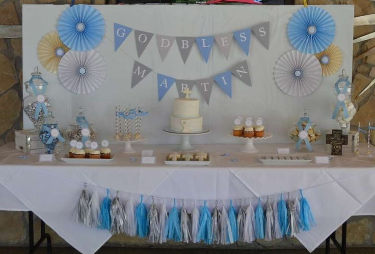 First Communion Baptism Party Ideas | Photo 1 of 16 | Catch My Party...Love the tassel garland!