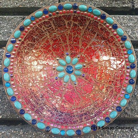 "Red Bowl -17"" tempered glass mosaic bowl - Susan Crocenzi"