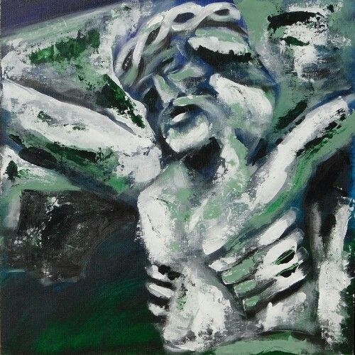Mészáros Marianna: Kak pusztai Krisztus 40×40 cm, akril