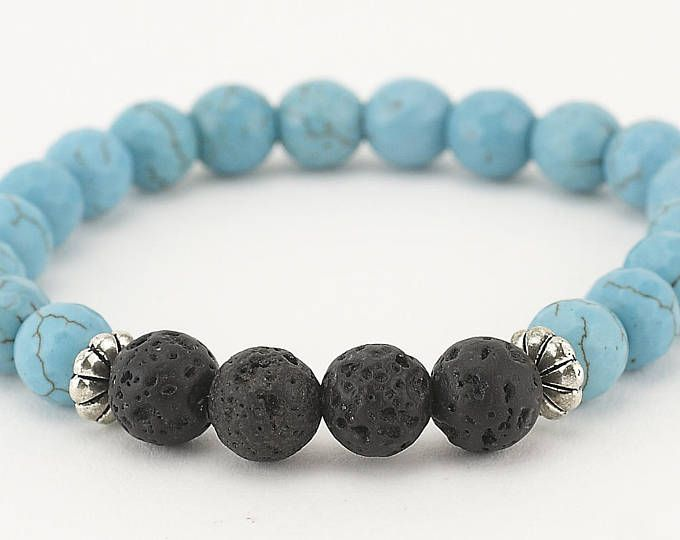 Lava bead bracelet, essential oil, diffuser bracelet, turquoise bracelet, stretch bracelet, essential oil bracelet