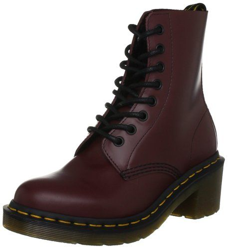 Del Dr. Martens Mujeres Clemencia Boot, Cherry Red suave, 8 UK / 10 M US