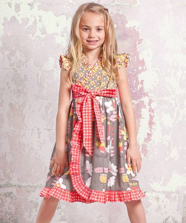 Take a look at this Gray & Red Indian Summer Misha Dress - Infant, Toddler & Girls by Jelly the Pug on #zulily today!