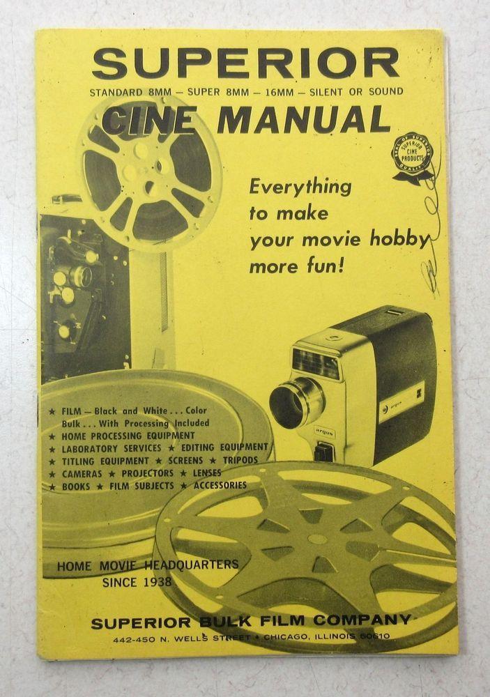 Vintage Superior Bulk Film Cine Manual ~ Catalog  Movie Projector Cameras Screen