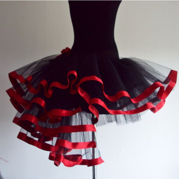 Black Red tutu skirt Burlesque size U.S. 4 10 U.K. 6 12 ($55) ❤ liked on Polyvore featuring skirts, long black skirt, long skirts, black knee length skirt, long tutu and tutu skirts