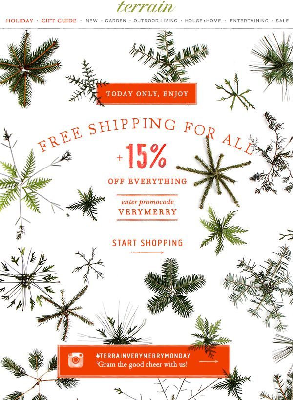 A very #merry #sale! Today only, 15% off everything & free shipping for all at #shopterrain December 1