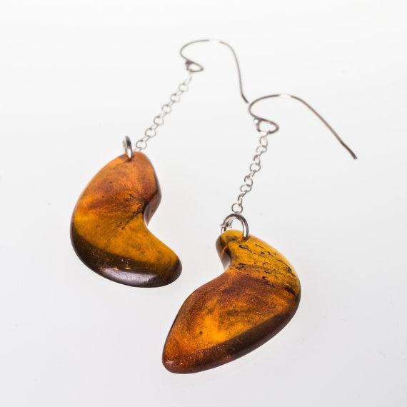 Unique & lovely Amber Rigel dangle Earrings by karinadelirio, £27.00