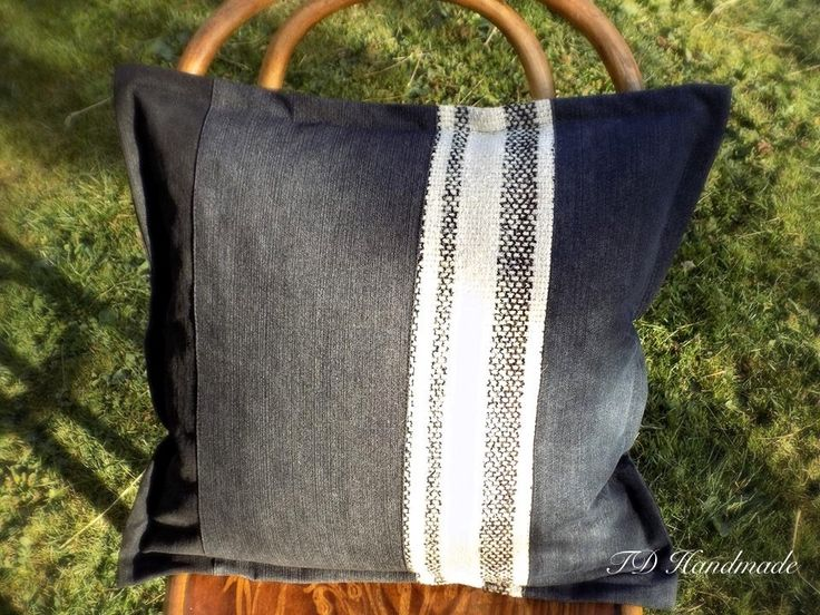 Black recycled/upcycled jeans/denim cushion cower/pillow case by denimize on Etsy