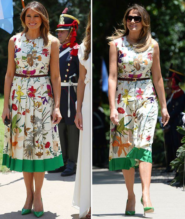 Melania Trump G20 Summit Melania Beams As She Wears 3 000 Floral Gown For Museum Visit Fashion Dresses For Teens Silk Floral Print Dress