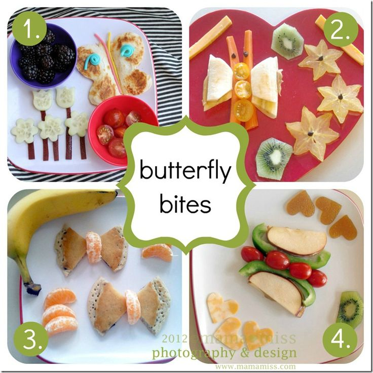 One might say I have an obsession with making butterflies. Well, they are easy & well…EASY ;) 1. lunch butterfly cheese quesadillas, blackberries, cucumbers, fruit leather, cherry tomatoes, twizzler rope 2. lunch butterfly bananas, peanut butter, carrots, kiwi, star fruit, mini chocolate chips, cheese sticks, yellow tomatoes 3. breakfast butterfly blueberry pancake, tangerines, banana 4. …