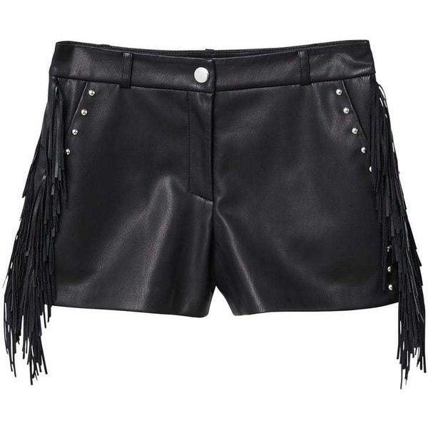 Stud Flowy Short ($42) ❤ liked on Polyvore featuring shorts, black, studded shorts, zipper shorts, short shorts, embellished shorts and mango shorts