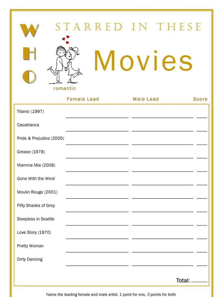 Who Starred In, Romantic Movie Game, Bridal Shower, Hens Night Game, Printable PDF Files, Digital Download, Print At Home by ameliardconcepts on Etsy
