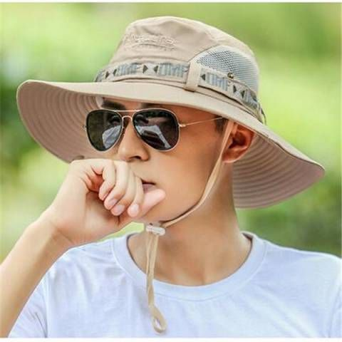 Mens fishing bucket hat with string outdoor fisherman hats for sun protection