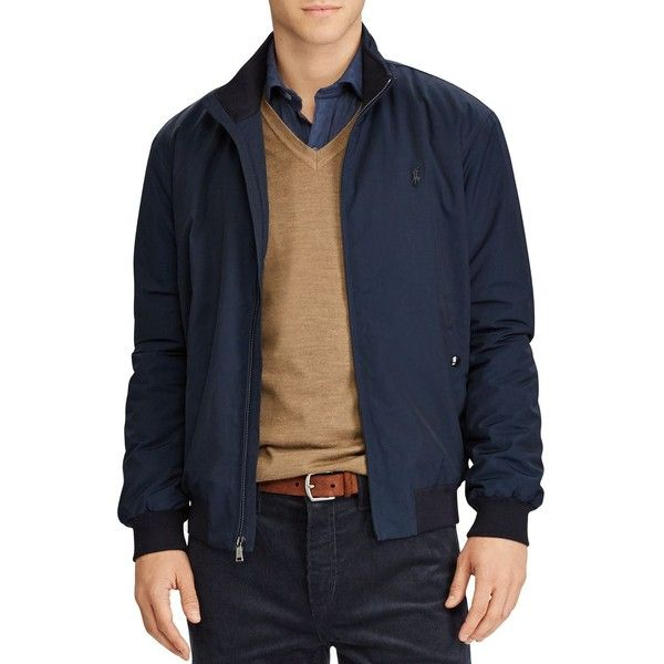 Polo Ralph Lauren Packable Windbreaker Jacket ($225) ❤ liked on Polyvore featuring men's fashion, men's clothing, men's outerwear, men's jackets, navy, mens navy blue jacket, mens lightweight jacket, mens windbreaker jacket, mens light weight jackets and mens navy jacket