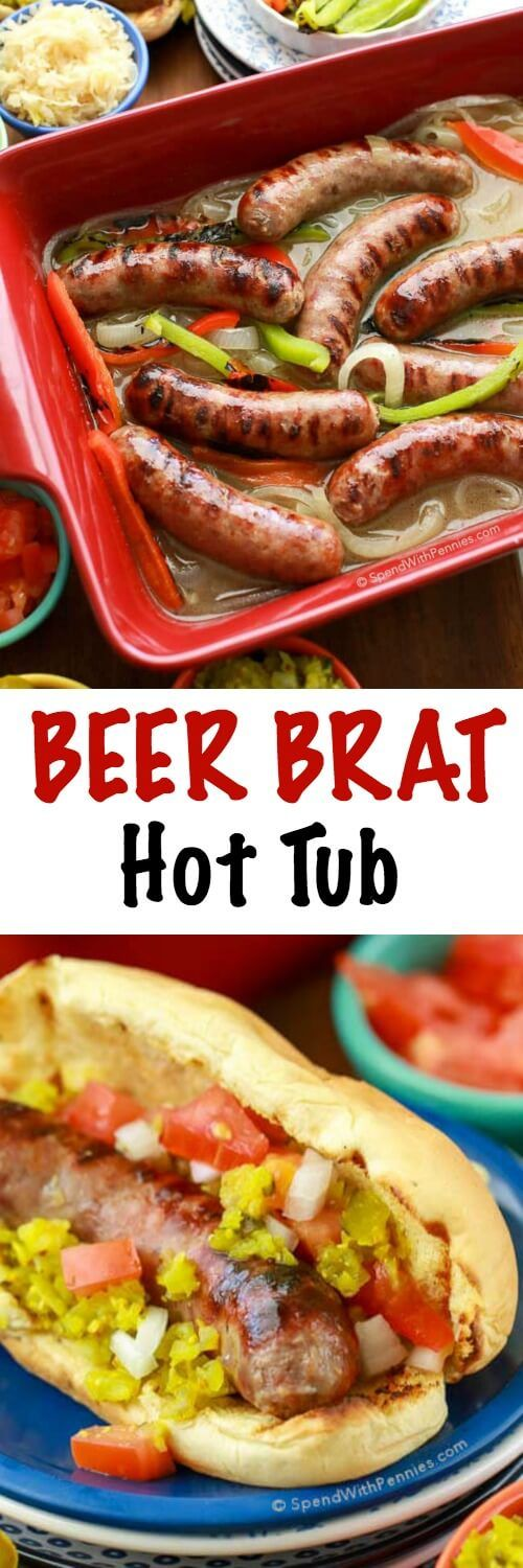 Perfectly grilled Johnsonville Brats kept hot & juicy in a flavorful beer & onion broth Brat Hot Tub! We love topping these off with our favorite fixin's including a quick and easy homemade dill pickle relish (no cooking or canning required). #ad