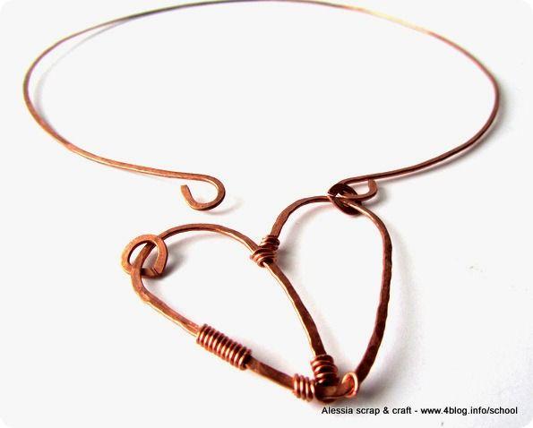 HEART: altra collana rigida in rame martellato