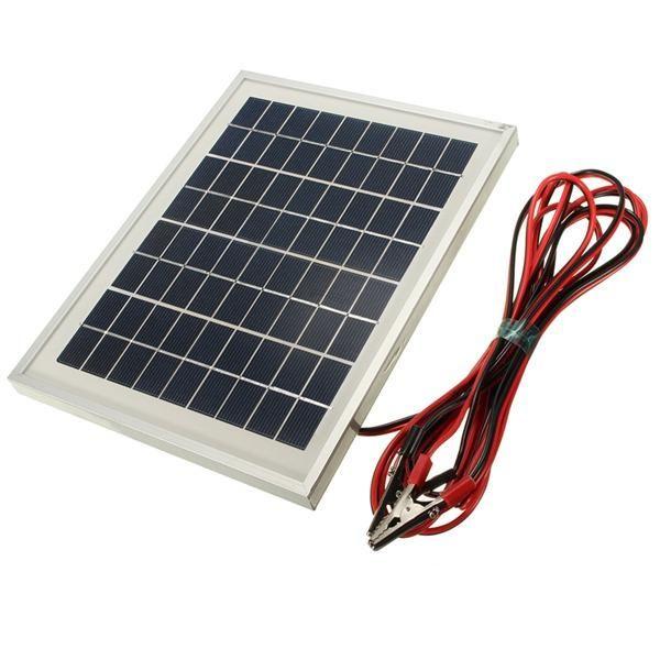 12V 5W 25.5 x 19 x 1.5CM PolyCrystalline Cells Solar Panel With Alligator Clip Wire