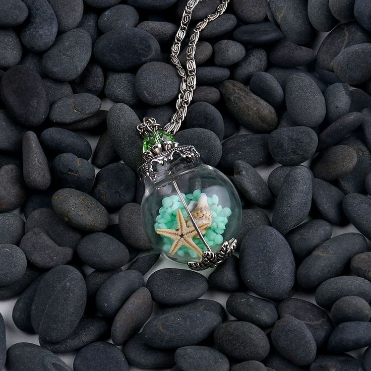 D.M. Handmade Glass Vial Pendant Necklace Starfish Shell Beach Sand In Tiny Glass Bottle Pendant Miniature Terrarium Necklace(China (Mainland))