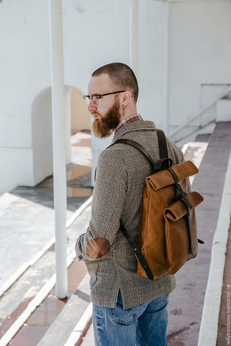 Купить Рюкзак-скрутка коричневый - коричневый, кожаный рюкзак, женский рюкзак…