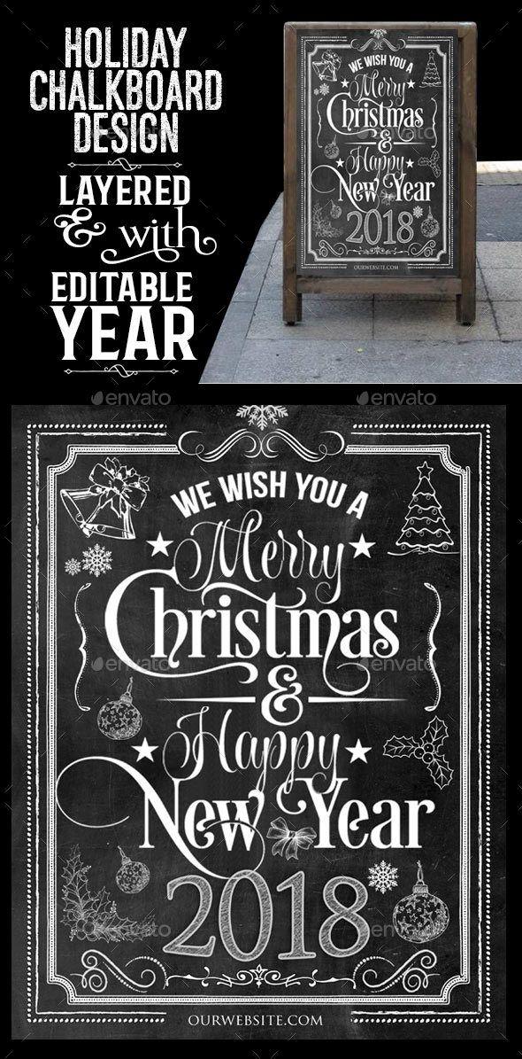 Holiday Chalkboard Design #envato #graphicriver #scarab13 #christmas #holidaychalkboard #chalkboards
