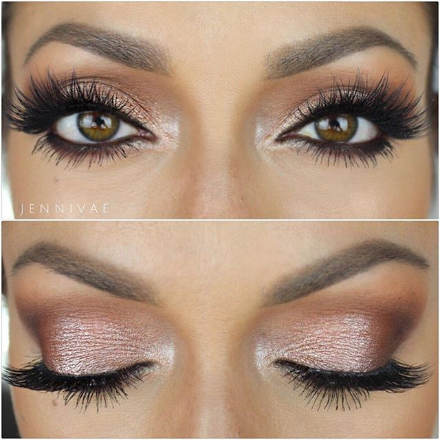 @toofaced Semi-Sweet Chocolate palette a mix of @makeupgeekcosmetics Grandstand and @anastasiabeverlyhills Pink Champagne on the lid @houseoflashes Iconic #anastasiabrows by jennivae